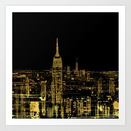 Abstract Gold City  Skyline Design Art Print