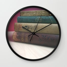 Old Books on the Table Wall Clock
