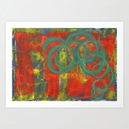 Green spirals Art Print