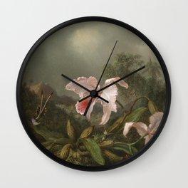 Martin Johnson Heade - Jungle Orchids And Hummingbirds Wall Clock