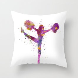 young woman cheerleader 04 Throw Pillow