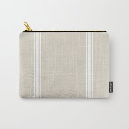 White Stripes on bone color background French Grainsack Distressed Country Farmhouse Carry-All Pouch