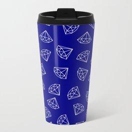Navy Blue Diamond Pattern Metal Travel Mug