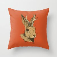 jackalope Throw Pillows featuring The Jackalope by Black Bear / White Bear