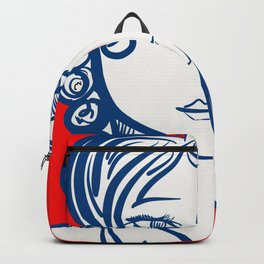 Blue Red Girl Portrait Minimal Art Backpack