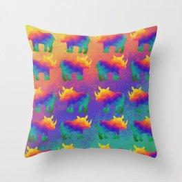 Rainbow Rhino - Stampede Throw Pillow