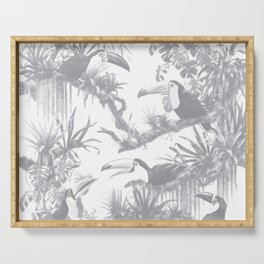 Toucans and Bromeliads - Sharkskin Grey Serving Tray