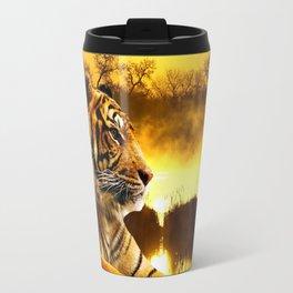 Tiger and Sunset Travel Mug