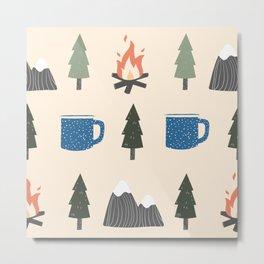 Camping Pattern Metal Print