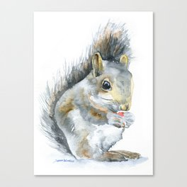 Gray Squirrel Watercolor Painting Canvas Print