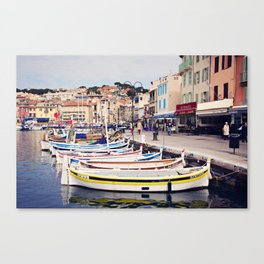 Boats in Cassis Harbor Canvas Print