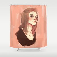 allison argent Shower Curtains featuring argent by shauna ok