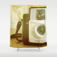 photographer Shower Curtains featuring Travel Photographer by Melissa Lund