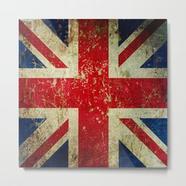 Grunge Scratched Metal Union Jack / British Flag Metal Print
