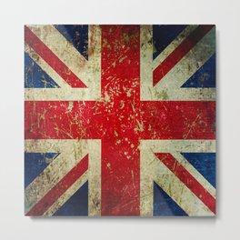 Grunge Scratched Metal Union Jack / British Flag Metal Print
