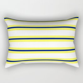 Nautical Yellow, White and Navy, Crisp and Clean Lines Rectangular Pillow