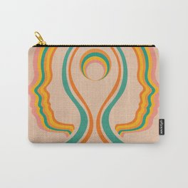 Look Within, Peachy, Mid Century Modern Art Carry-All Pouch