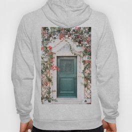 Green Door Surrounded by Flowers in Cascais, Portugal | Travel Photography | Hoody