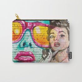 Retro Pinup Girl & Colorful Graffiti Wall Carry-All Pouch