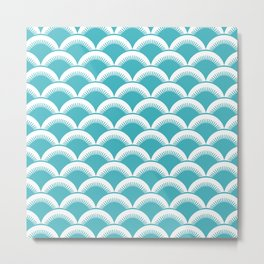 Japanese Fan Pattern 128 Turquoise Metal Print
