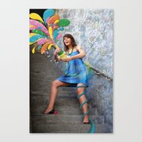 champagne Canvas Prints featuring Champagne by Lindella