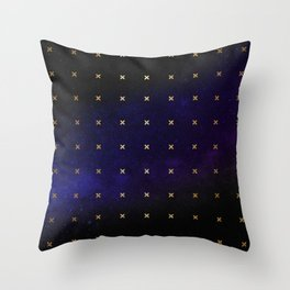 Gold Stars in Space Pattern Throw Pillow