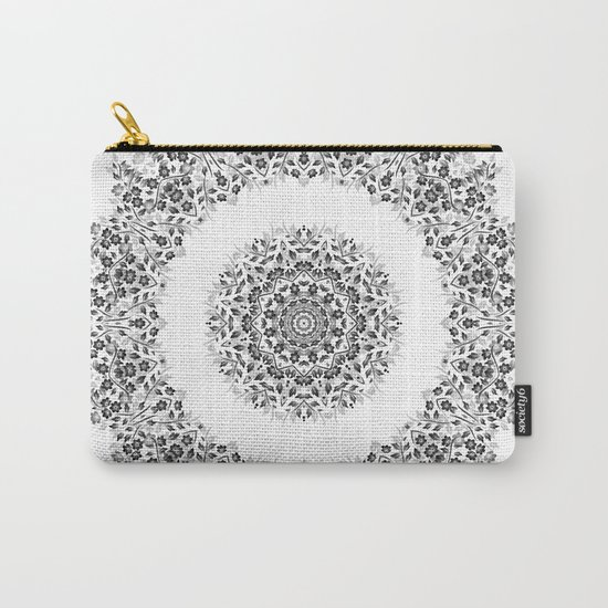Black And White Floral Mandala Carry-All Pouch