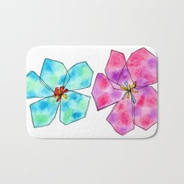 Hibiscus Flower pattern Floral painting watercolor illustration summer California Tropical Beach Bath Mat