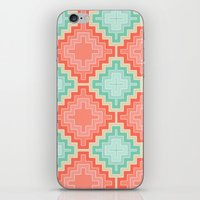 kilim iPhone & iPod Skins featuring coral mint kilim by musings