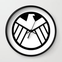 shield Wall Clocks featuring SHIELD by Bastien13