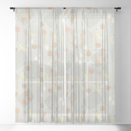 Baking Chocolate Chip Cookies Muted Farmhouse Colors Sheer Curtain