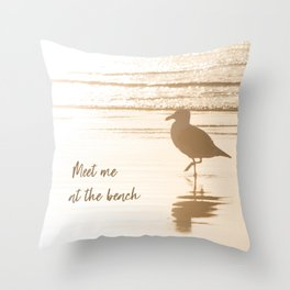 Meet Me at the Beach (typography) Throw Pillow