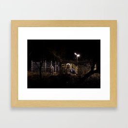 Sewer pipes at night Framed Art Print