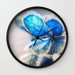 Blue Flower In Hard Rime Macro Close Up Wall Clock
