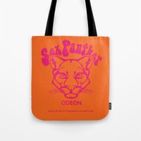 will ferrell Tote Bags featuring ANCHORMAN - Sex Panther  by John Medbury (LAZY J Studios)
