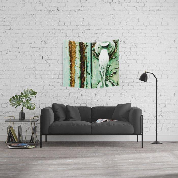 Green Door Handle, Peeling Turquoise Paint, Rusty Door Wall Tapestry