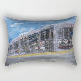 Moving A Train on NYC MTA Platform Rectangular Pillow