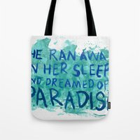 "coldplay Tote Bags featuring ""She Dreamed of Paradise""-Coldplay by Fabfari"