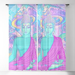 Sitting Buddha among psychedelic Mushrooms Sheer Curtain