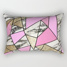 Girly Pink Geometric Gold and Modern Marble Rectangular Pillow