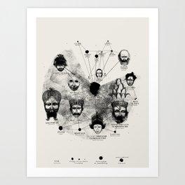 Ancient Faces Infographic Journey Art Print