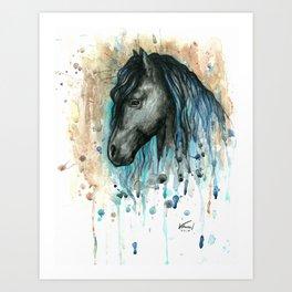 Blue friesian 1 Art Print