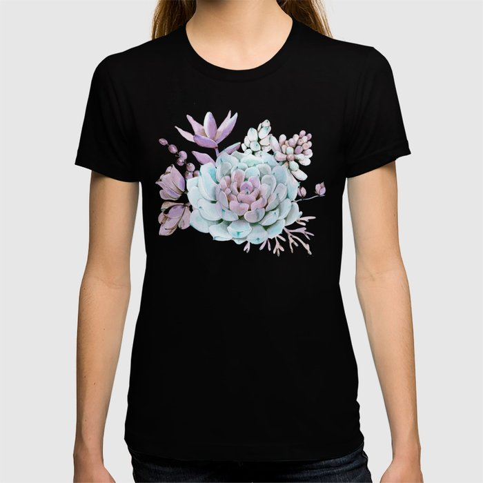 Turquoise and Violet Succulents T-shirt