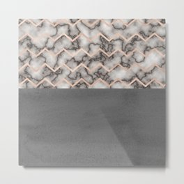 Painted Marble - Black and Rose Gold Metal Print