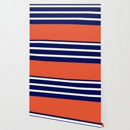 Summer Patio Perfect, Adobe Orange, White & Navy Wallpaper