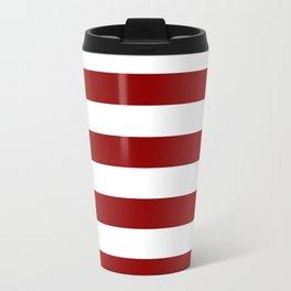 Horizontal Stripes - White and Dark Red Metal Travel Mug