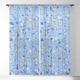 Bedtime Stories BLUE / Cartoon pencil pattern Sheer Curtain