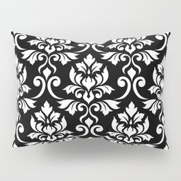 Feuille Damask Pattern White on Black Pillow Sham