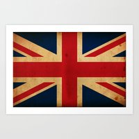 union jack Art Prints featuring Union Jack by NicoWriter