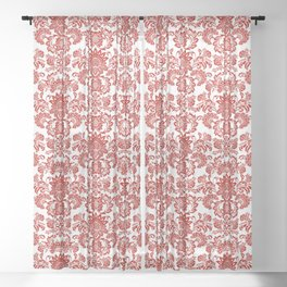 Damask in red Sheer Curtain